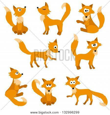 Set of cute foxes. Vector cartoon fox isolated on white. Sitting, sleeping, jumping fox. Flat design illustration.