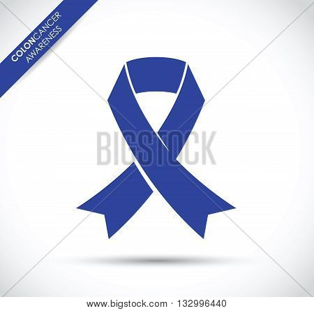 a blue colon cancer awareness ribbon icon
