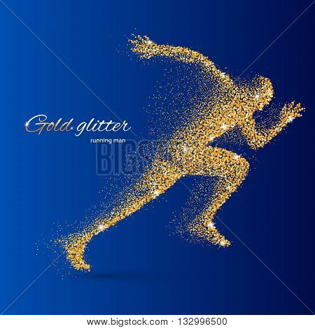 Running Man in the Form of Gold Particles on Blue