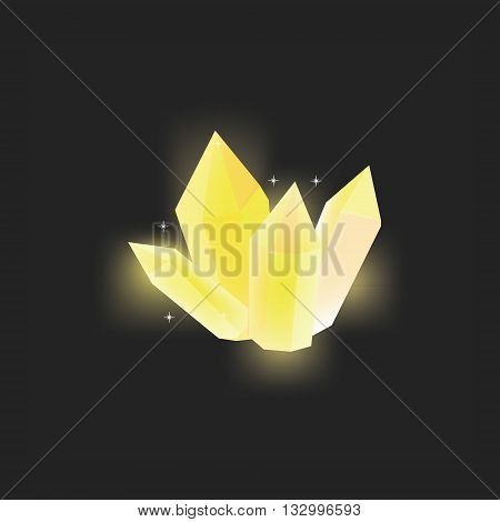 Vector illustration yellow magic crystal on black background. Crystal resource for app. Shining crystal icon