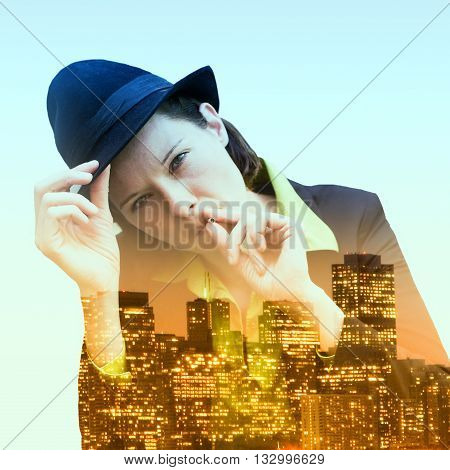 double exposure of woman smoking and cityscape at night