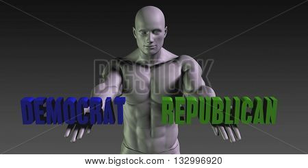 Democrat or Republican as a Versus Choice of Different Belief 3d Illustration Render