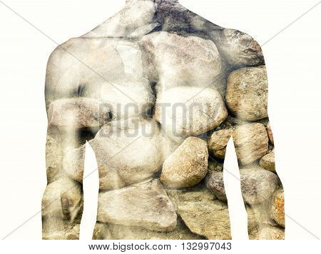 double exposure of muscular body and stone wall
