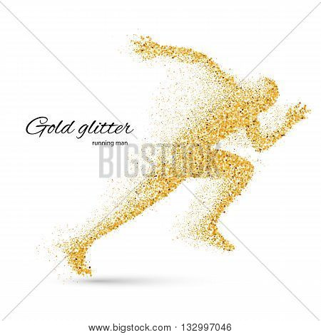 Running Man in the Form of Gold Particles on White