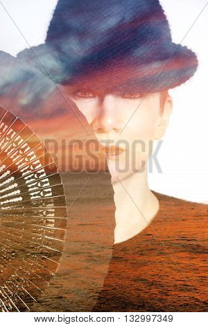 double exposure of woman and ocean at sunset