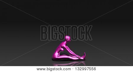 Yoga Class, the Seated Forward Bend Basic Pose Stance 3D Illustration Render