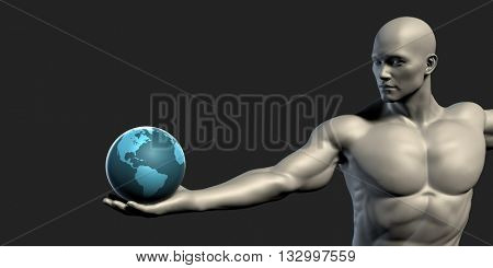 Man Holding Globe with Technology Abstract Background 3D Illustration Render