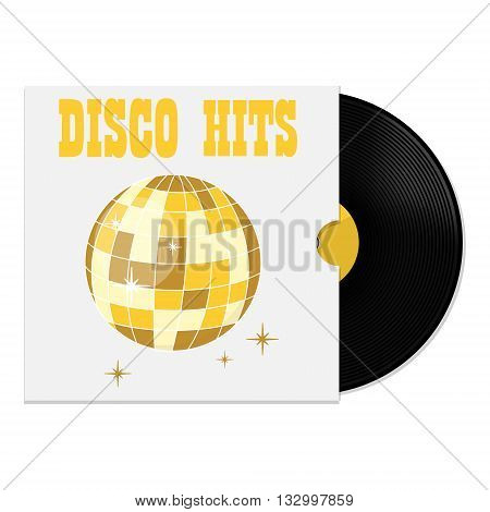Vector illustration of vinyl record in cover with party disco ball disco hits