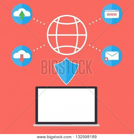 Computer laptop with firewall anti virus for protect malware virus from internet website email upload and download file. Flat design computer security in business concept.
