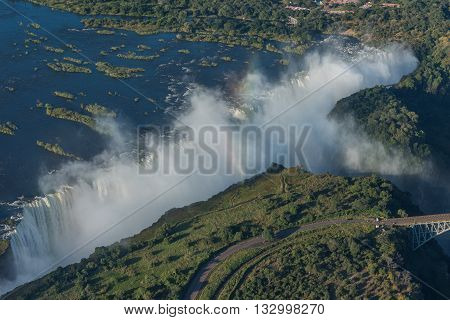 Aerial View Of Victoria Falls Near Bridge