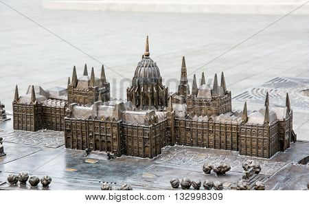 Hungarian parliament building - Orszaghaz in Budapest Hungary - miniature artistic model. House of the nation. Cultural heritage. Travel destination. Architectural theme.