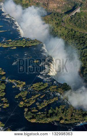 Aerial View Of Victoria Falls With Bridge