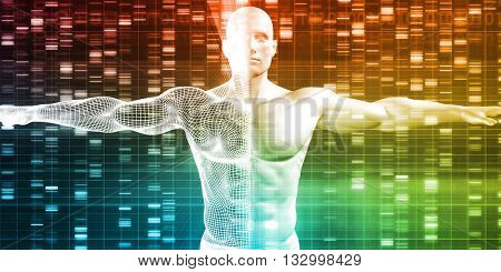 DNA Sequence with Genetics Data of a Human Male 3D Illustration Render