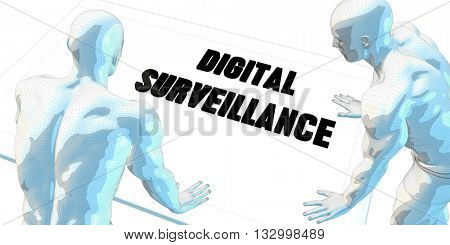 Digital Surveillance Discussion and Business Meeting Concept Art 3D Illustration Render