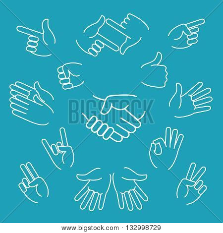 Business hand gestures linear icons and handshake thin line sign. Vector illustration