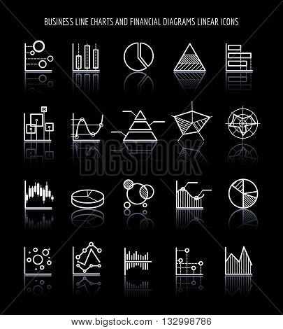 Business line charts and financial diagrams linear icons. Vector illustration