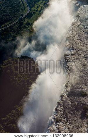 Aerial View Of Spray Hiding Victoria Falls