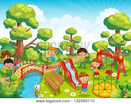Children playing with toys on the playground in the park vector.