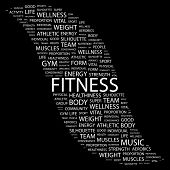 FITNESS. Word collage on black background. Illustration with different association terms.