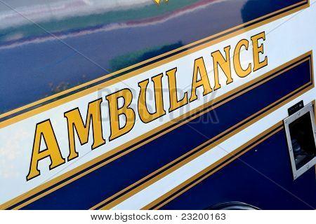 Ambulance signage on side of ambulance