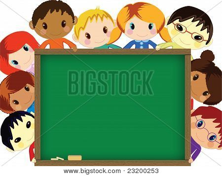 Kids behind chalkboard vector