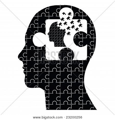 Conceptual puzzle head man vector
