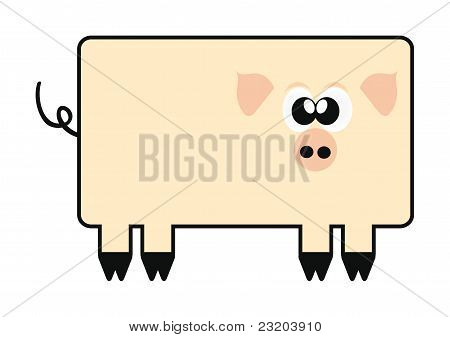 Happy Cartoon Pig