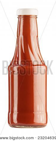 Glass bottle of ketchup