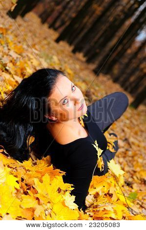 The Attractive Woman In Autumn Forest