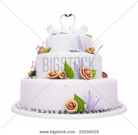 Beautiful Wedding Cake With Roses And Swans