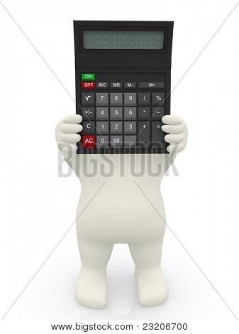 3D man with a calculator ? isolated over a white background