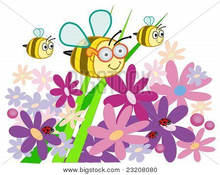 Bee with glasses and summer flowers