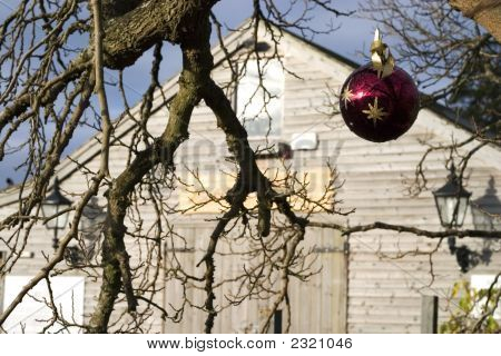 Barn And Christmas Ornament