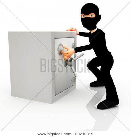 3D thief opening a safe ? isolated over a white background