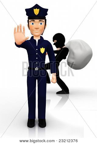 3D burglar escaping from the police ? isolated over a white background
