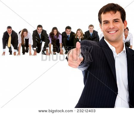 Fullbody business man leading a competitive team ? isolated