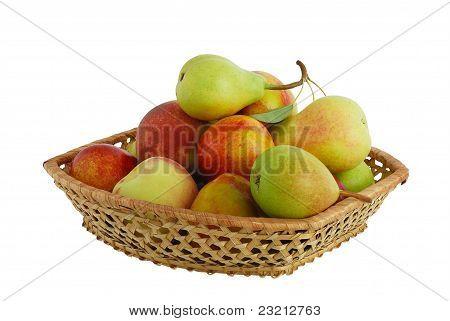 Fresh Fruits In Interwoven Basket