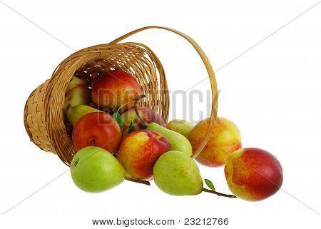 Fresh Fruits Spilled From Interwoven Basket