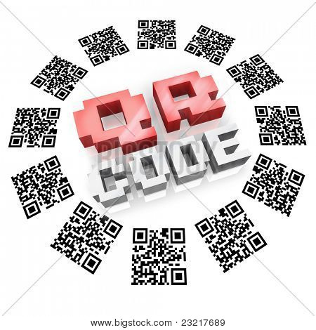 Several QR barcode square icons in a round pattern around the word QR Code representing new technology for you to gather information on products and services using devices like a smart phone