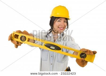 Attractive Hispanic Woman with Hard Hat Holding Level Isolated on a White Background.