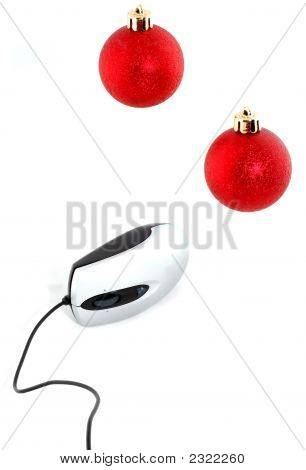 Computer Mouse With Two Christmas Red Balls Over White