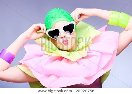 Fashion shot of an extravagant model.