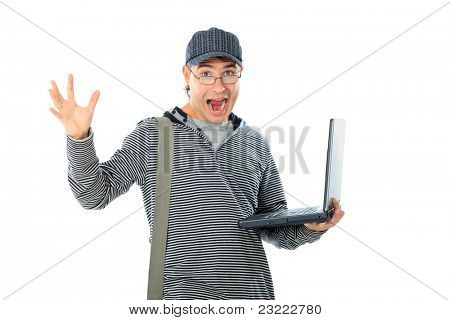 Educational theme: emotional student with a laptop. Isolated over white.