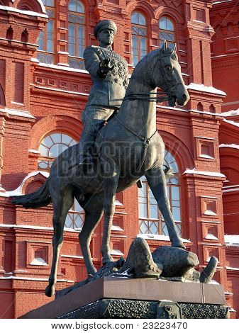 Zhukov monument near National historic musium in Moscow Russia