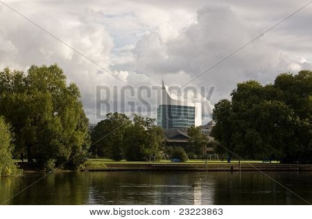 Reading office block from the River Thames