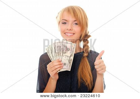 Young Woman Holding In Hand Cash Money Bill American Dollars And Shows Finger Up
