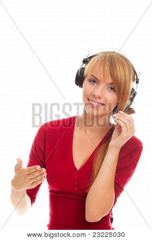 Friendly Young Woman Hot Line Operator In Headphones