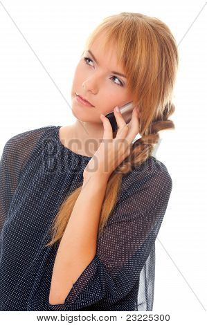 Teenager Communicates On Cell Phone