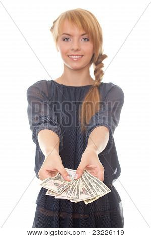 Young Woman Holding In Hand Cash Money Bill American Dollars
