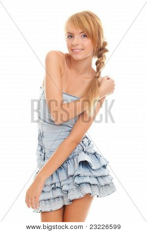 Bright Lovely Teenager In Blue Dress